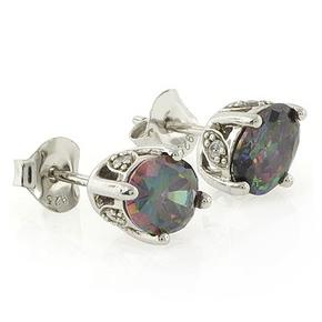 Mystic Topaz Silver Stud Earrings