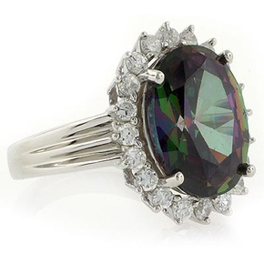 Princess Kate Style Silver Ring with Mystic Topaz