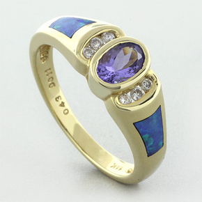 Australian Opal Gold Ring with Tanzanite