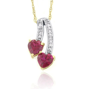 10K Yellow Gold Ruby Double Heart Pendant Necklace
