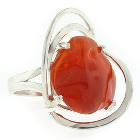 Natural Mexican Fire High Quality Opal Silver Ring 12 carat Stone