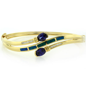 Opal and Tanzanite Gold Plated Sterling Silver Bangle