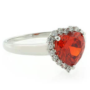Heart Shape Mexican Fire Cherry Opal Silver Ring