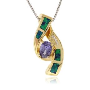 14k Gold Plated Opal Tanzanite Silver Pendant