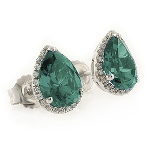 Color Changing Alexandrite Pear Cut Stone Micro Pave Earrings