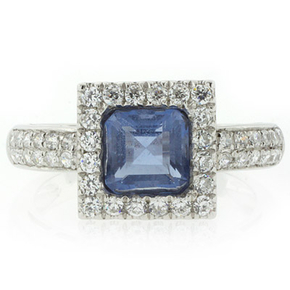 Princess Cut Alexandrite Micro Pave Setting Silver Ring