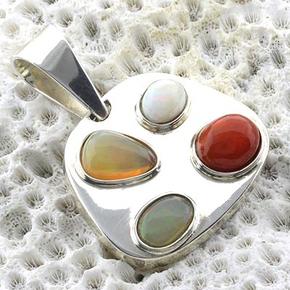 Genuine Mexican Fire Opal Silver Pendant