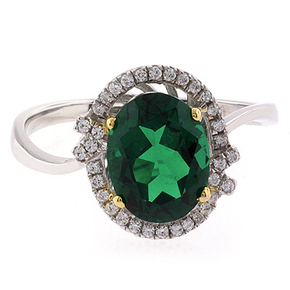 Beautiful Oval Cut Emerald Gold Prong Micro Pave Silver Ring