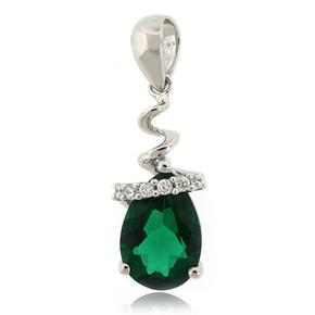 Drop Shape Emerald Sterling Silver Necklace