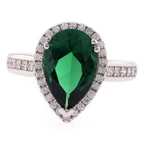 Pear Cut High Quality Emerald Silver Ring