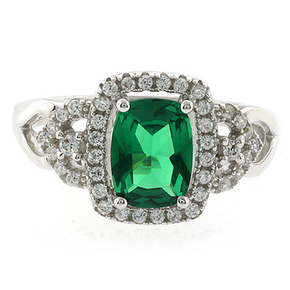 Green Emerald Sterling Silver Ring