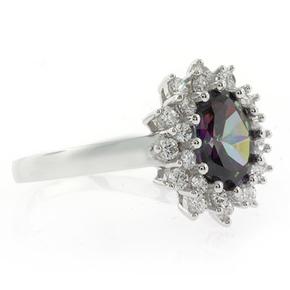 Princess Cut Mystic Topaz Sterling Silver Ring