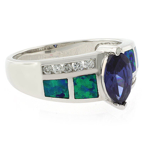 Marquise Cut Tanzanite and Opal Ring