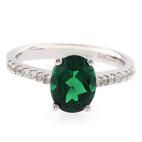 Oval Cut Emerald Stone Promise Ring