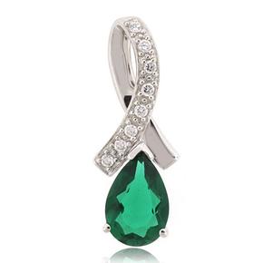 Emerald Slide Silver Pendant