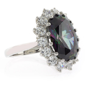 Huge Oval Cut Mystic Topaz Princess Kate Style Silver Ring