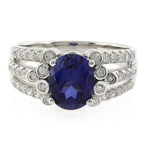 Beautiful Oval Cut Sapphire Unisex Silver Ring