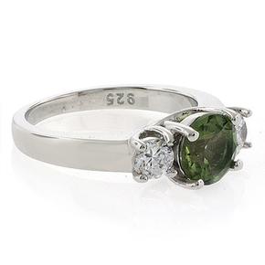 Round Cut Tourmaline Gemstone Silver Engagement Ring