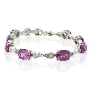 Alexandrite Silver Bracelet Oval Cut Stones Pink Purple Color Change