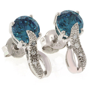 Round Cut Alexandrite Post Back Earrings Blue to Green Color Change