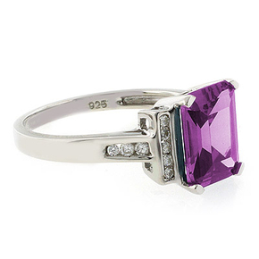 Emerald Cut Pink to Blue Color Change Silver Ring