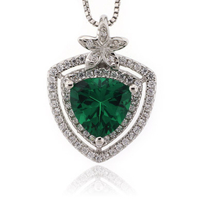 Emerald Trillion Cut Stone Flower Pendant