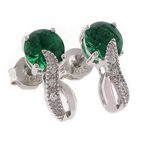 Round Cut Emerald Post Back Earrings