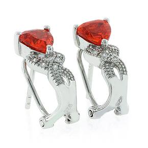 Fire Opal Omega Back Silver Earrings