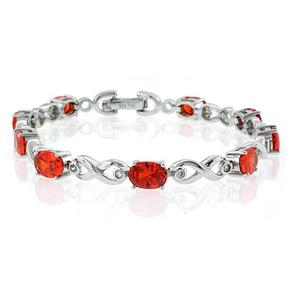 Silver Mexican Fire Cherry Opal Bracelet