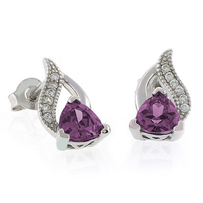 Alexandrite Color Change Post Back Silver Earrings