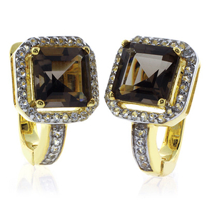Sterling Silver Smoked Topaz Gold Plated Earrings
