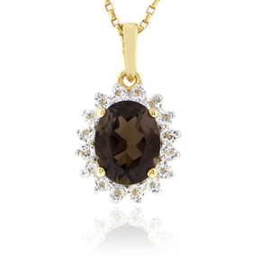 Authentic Smoked Topaz Sterling Silver Pendant