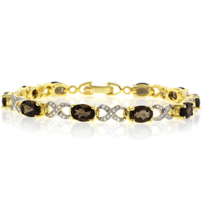 Authentic Smoked Topaz Sterling Silver Bracelet