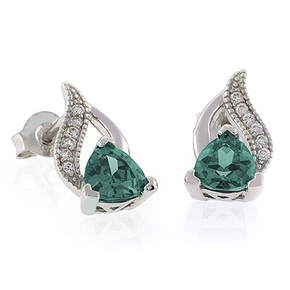 Alexandrite Color Change Post Back Silver Earrings Bluish to Green