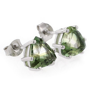 Trillion Cut Tourmaline Stud Silver Earrings