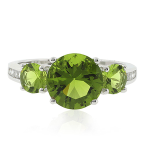 3 Round Cut Peridot Ring