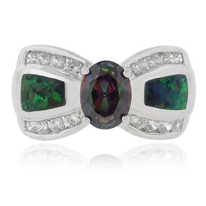 Oval Cut Mystic Topaz Opal Silver Ring