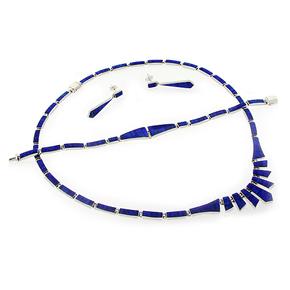 Blue Opal Sterling Silver 950 Necklace Bracelet Earrings Set