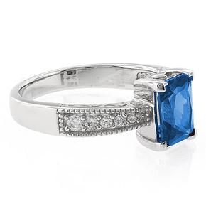 Emerald Cut Blue Topaz Stone Ring