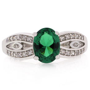 Emerald Oval Cut Stone Decorated Ring