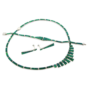 Green Opal Silver Necklace, Bracelet and Earrings Set