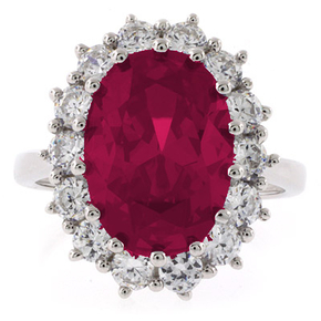 Red Ruby Princess Kate Style Silver Ring