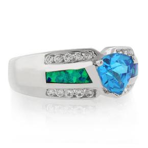 Trillion Cut Blue Topaz Blue Opal Sterling Silver Ring