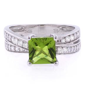 Princess Cut Peridot Silver Ring