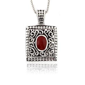 Vintage Red Coral Sterling Silver Pendant