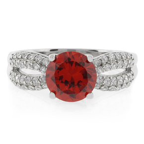 Fire Opal Round Cut Sterling Silver 925 Ring