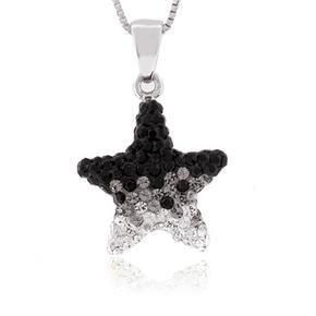Star Black and White Swarovski Silver Pendant