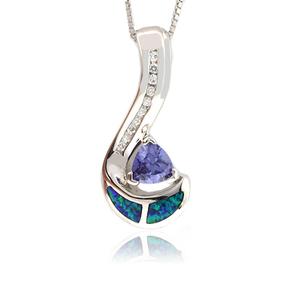 Trillion Cut Tanzanite Opal Silver Pendant