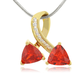 Two Stone Fire Opal Gold Plated Silver Pendant