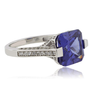 Majestic Princess Cut Tanzanite Silver Ring